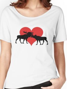 Moose Couple Women's Relaxed Fit T-Shirt