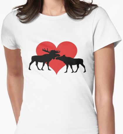 Moose Couple Womens Fitted T-Shirt
