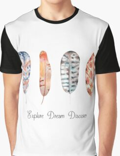 Explore Dream Discover Feathers Graphic T-Shirt