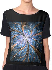 Blue Butterfly - Abstract Fractal Artwork Chiffon Top