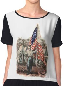 CIVIL WAR, AMERICAN, SOLDIER, UNION, ARMY, STAR SPANGLED, BANNER, USA Chiffon Top