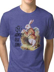 White Rabbit Alice in Wonderland Vintage Art Tri-blend T-Shirt