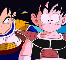Kid Vegeta and Kid Goku by balthierz
