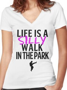 Silly Walks Women's Fitted V-Neck T-Shirt