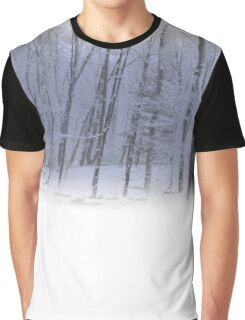 Misty Winter Forest Scene Graphic T-Shirt