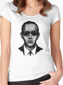 D.B. Cooper - Black and White  Women's Fitted Scoop T-Shirt