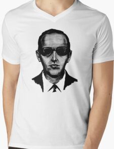 D.B. Cooper - Black and White [Use on LIGHT GREY SHIRT] Mens V-Neck T-Shirt