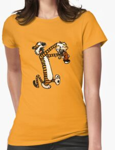 Zombie Fight Calvin And Hobbes Womens Fitted T-Shirt