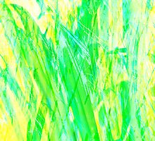 Grassy Abstract in Yellow Green Aqua White by Menega  Sabidussi