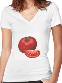 A beautiful tomato drawing Women's Fitted V-Neck T-Shirt