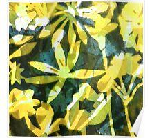 Lemon and Green Flower Pattern Poster