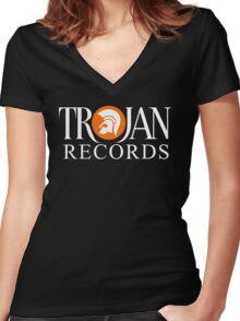 TROJAN RECORDS ORIGINAL LOGO Women's Fitted V-Neck T-Shirt