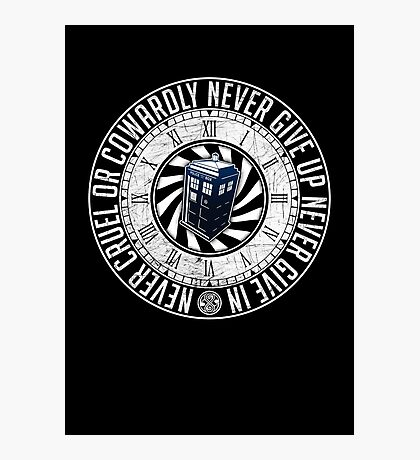 Never Cruel Or Cowardly - Doctor Who - TARDIS Clock Photographic Print