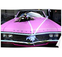 A pink Chevrolet bridal car Poster