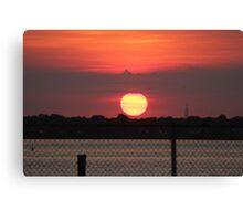 Island Park Big Sun Ball Sunset Canvas Print