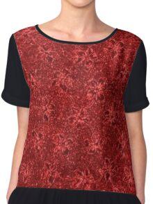 Vintage Floral Ribbon Red Chiffon Top