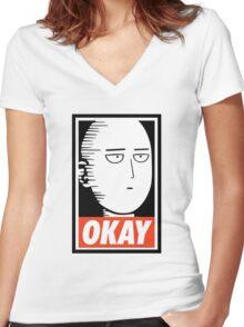 punch ok Women's Fitted V-Neck T-Shirt