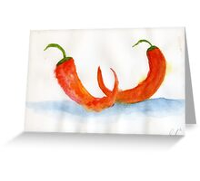 Two Chilis – Daily Painting #877 Greeting Card
