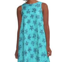 Vintage Floral Turquoise Blue A-Line Dress