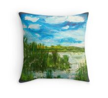 Dutch landscape with waving reed. Throw Pillow