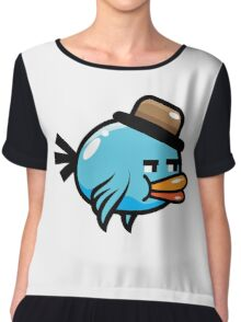 A funny blue bird drawing Chiffon Top