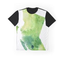 Watercolor Map of British Columbia, Canada in Green - Giclee Print of My Own Watercolor Painting Graphic T-Shirt