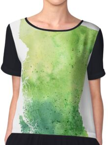 Watercolor Map of British Columbia, Canada in Green - Giclee Print of My Own Watercolor Painting Chiffon Top