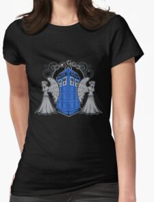 Weeping Angels and the Tardis Womens Fitted T-Shirt