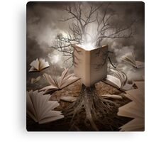 Magical Old Nature Tree Reading Books Canvas Print