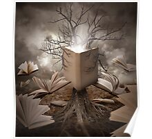 Magical Old Nature Tree Reading Books Poster