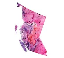 Watercolor Map of British Columbia, Canada in Pink and Purple - Giclee Print  Photographic Print