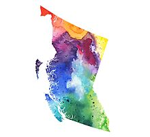 Watercolor Map of British Columbia, Canada in Rainbow Colors - Giclee Print  Photographic Print