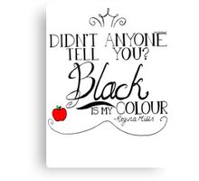 Black is my colour (black font, English spelling) Canvas Print