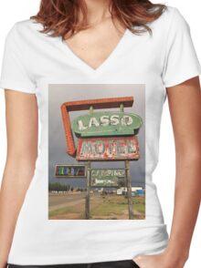Lasso Motel Women's Fitted V-Neck T-Shirt