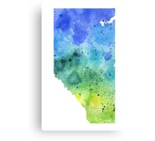 Watercolor Map of Alberta, Canada in Blue and Green - Giclee Print of My Own Watercolor Painting Canvas Print