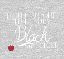 Black is my colour (white font, English spelling) Kids Tee