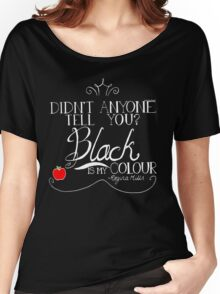 Black is my colour (white font, English spelling) Women's Relaxed Fit T-Shirt