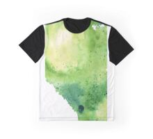 Watercolor Map of Alberta, Canada in Green - Giclee Print of My Own Watercolor Painting Graphic T-Shirt