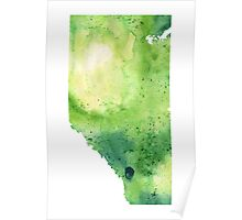 Watercolor Map of Alberta, Canada in Green - Giclee Print of My Own Watercolor Painting Poster