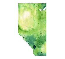 Watercolor Map of Alberta, Canada in Green - Giclee Print of My Own Watercolor Painting Photographic Print