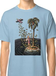 Airplane Drops Money on Desert Island Classic T-Shirt