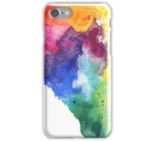 Watercolor Map of Alberta, Canada in Rainbow Colors - Giclee Print of My Own Watercolor Painting iPhone Case/Skin