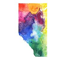 Watercolor Map of Alberta, Canada in Rainbow Colors - Giclee Print of My Own Watercolor Painting Photographic Print