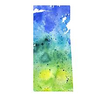 Watercolor Map of Saskatchewan, Canada in Blue and Green - Giclee Print Photographic Print