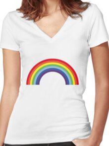 Rainbow / Arc-En-Ciel / Arcoíris / Regenbogen (7 Colors) Women's Fitted V-Neck T-Shirt
