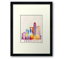 Charlotte landmarks watercolor poster Framed Print