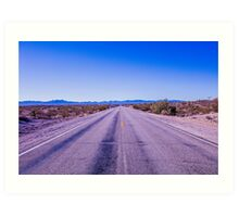Straight endless road Through Desert Art Print