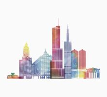 Chicago landmarks watercolor poster One Piece - Long Sleeve
