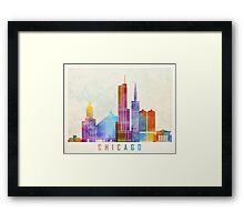 Chicago landmarks watercolor poster Framed Print