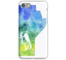 Watercolor Map of Manitoba, Canada in Blue and Green - Giclee Print of My Own Watercolor Painting iPhone Case/Skin